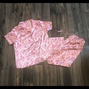 adonna pink pajama set tshirt button size 1X
